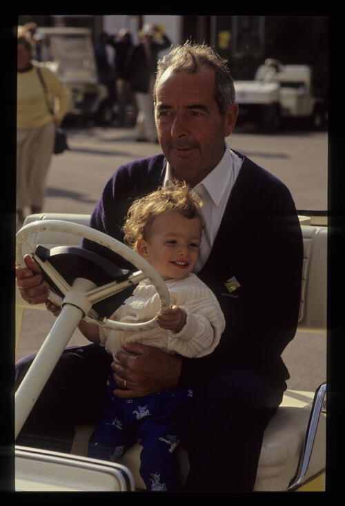 Bob Torrance and grandson Daniel on a buggy during the 1990 Whyte & MacKay PGA