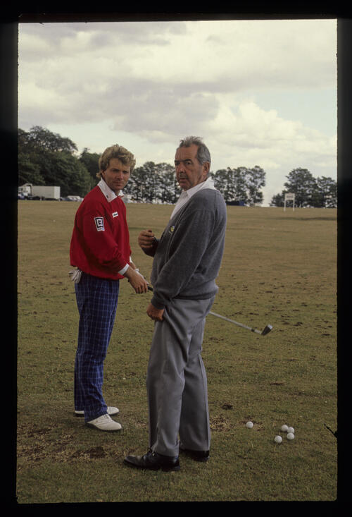 Steen Tinning and Bob Torrance on the practice ground during the 1986 Carroll's Irish Open