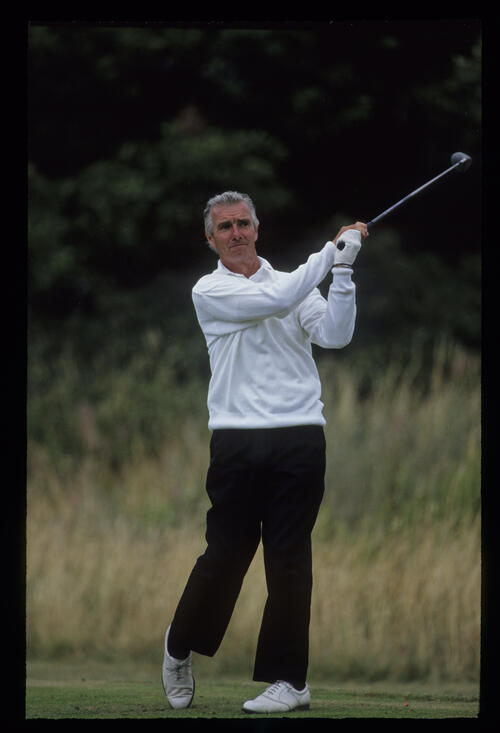 Brian Waites following through on the tee during the 1992 British Seniors Open