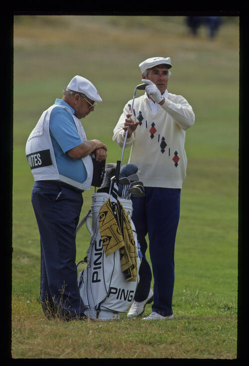 Brian Waites and his caddie considering their options in the rough during the 1992 British Seniors Open