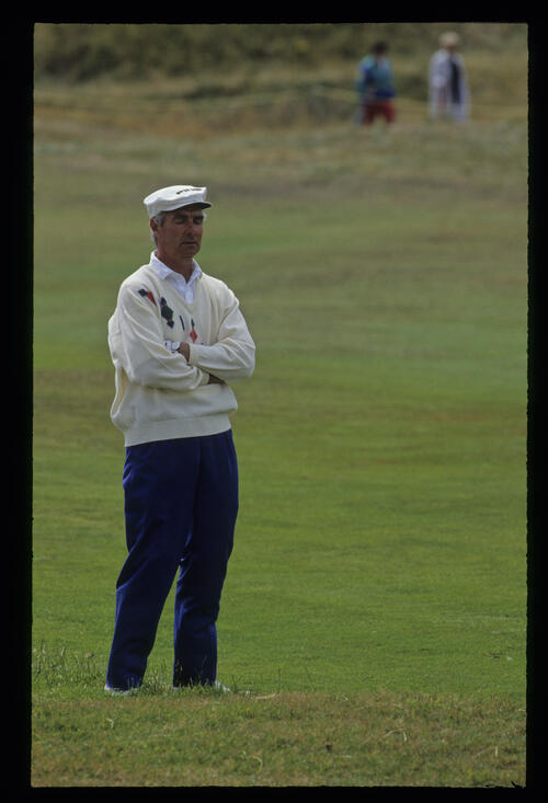 Brian Waites considering his options in the rough during the 1992 British Seniors Open