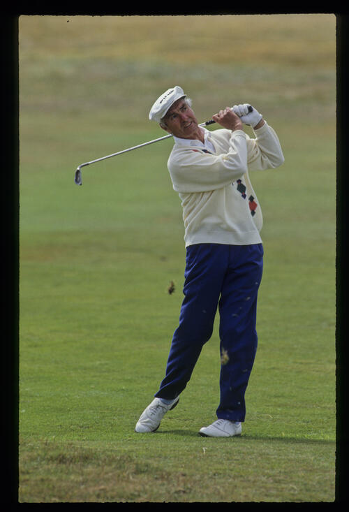 Brian Waites playing from the rough during the 1992 British Seniors Open