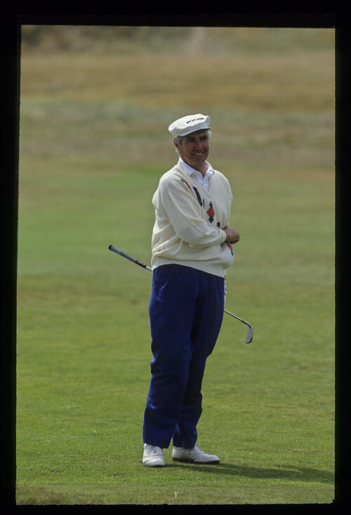 Brian Waites watching his shot closely during the 1992 British Seniors Open