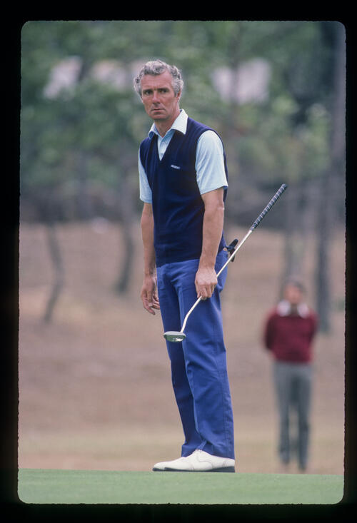 Brian Waites staring after putting during the 1984 Hong Kong Open