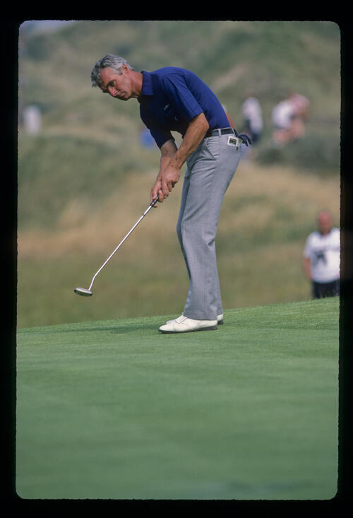 Brian Waites putting from the fringe during the 1983 Open Championship