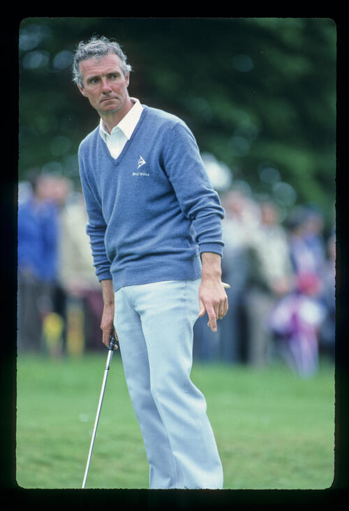 Brian Waites staring after a putt on his way to fifth place during the 1983 Silk Cut Masters