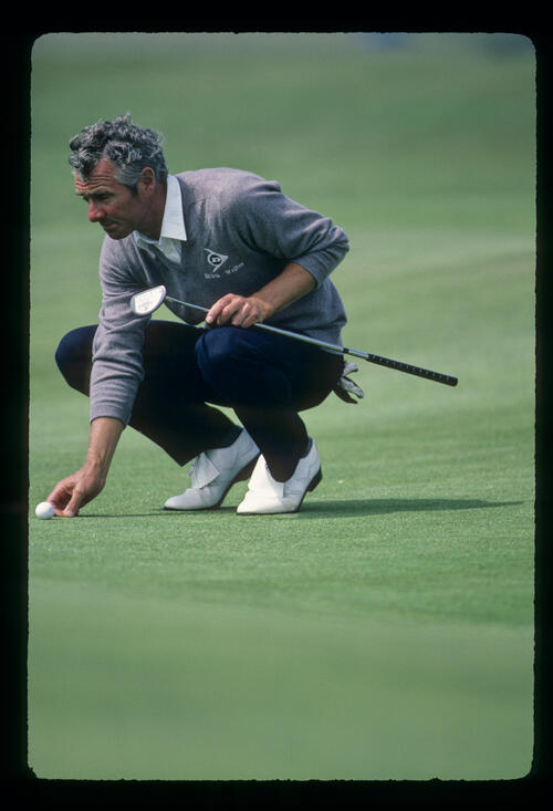 Brian Waites lining up a putt during the 1982 World Cup and International Trophy