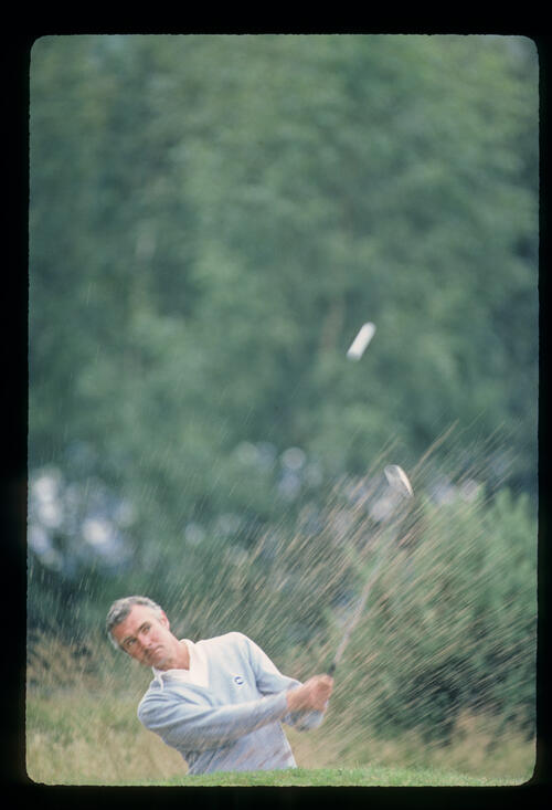 Brian Waites splashing from a bunker during the 1980 Haig Whisky TPC