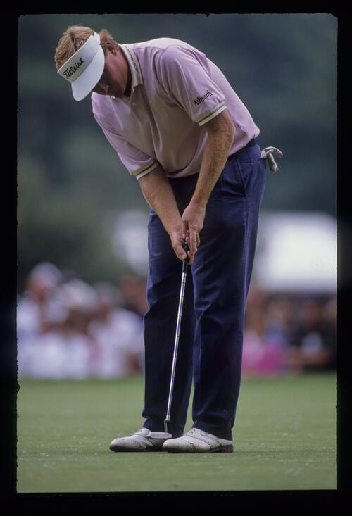 Mark Wiebe putting during the 1989 US Open
