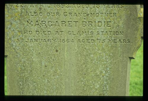 The gravestone of Margaret Bridie, who died at Glamis Station.