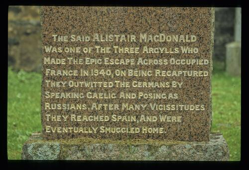 The base of Alistair MacDonald's gravestone, Ballachulish.