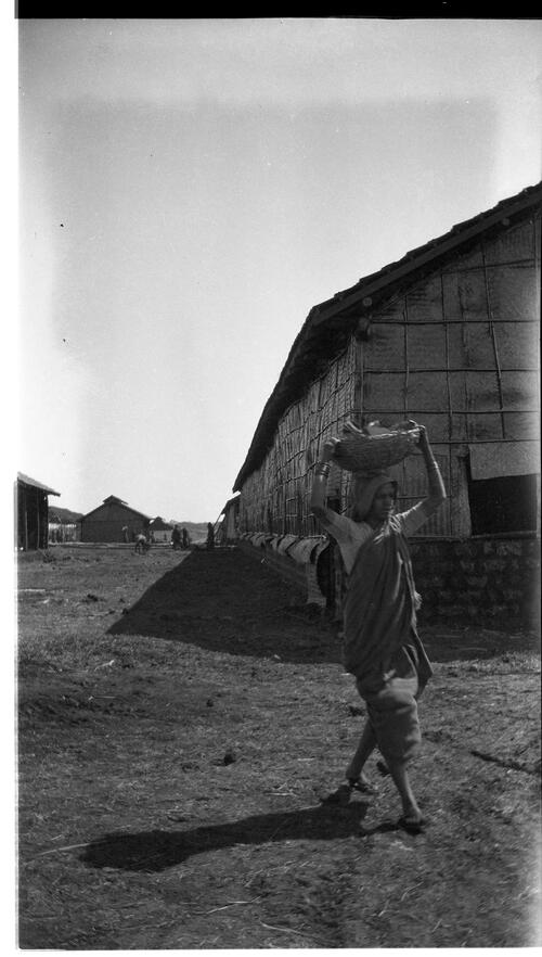 Building, Woman Carrying Basket