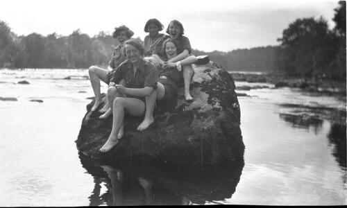 Girl Guides on Rock in Tay, Stanley
