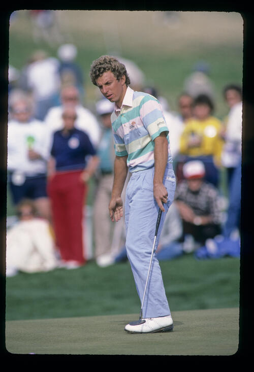 Bobby Clampett walking after his putt during the 1987 Phoenix Open