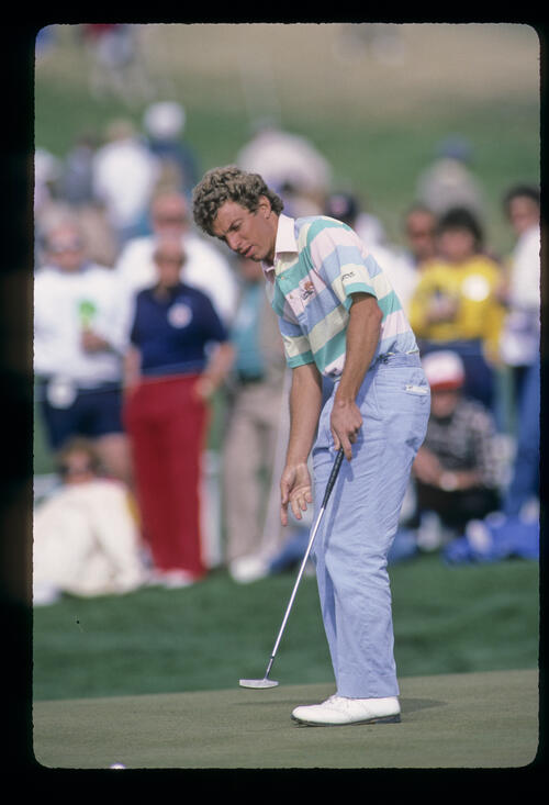 Bobby Clampett putting during the 1987 Phoenix Open