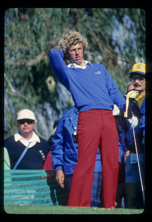 Bobby Clampett stretching on the tee during the 1982 Phoenix Open