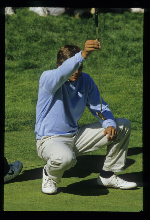Keith Clearwater lining up his putt during the 1987 US Open