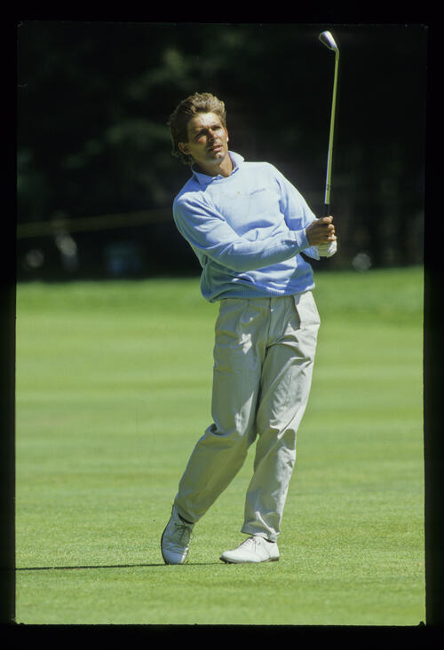 Keith Clearwater after a successful putt during the 1987 US Open