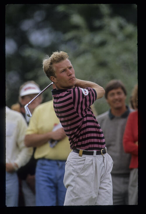 Per-Ulrik Johansson following through during the 1991 NM English Open
