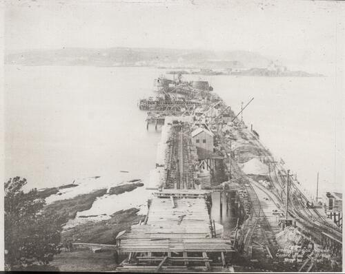 View of foundations from south shore [Forth Bridge].