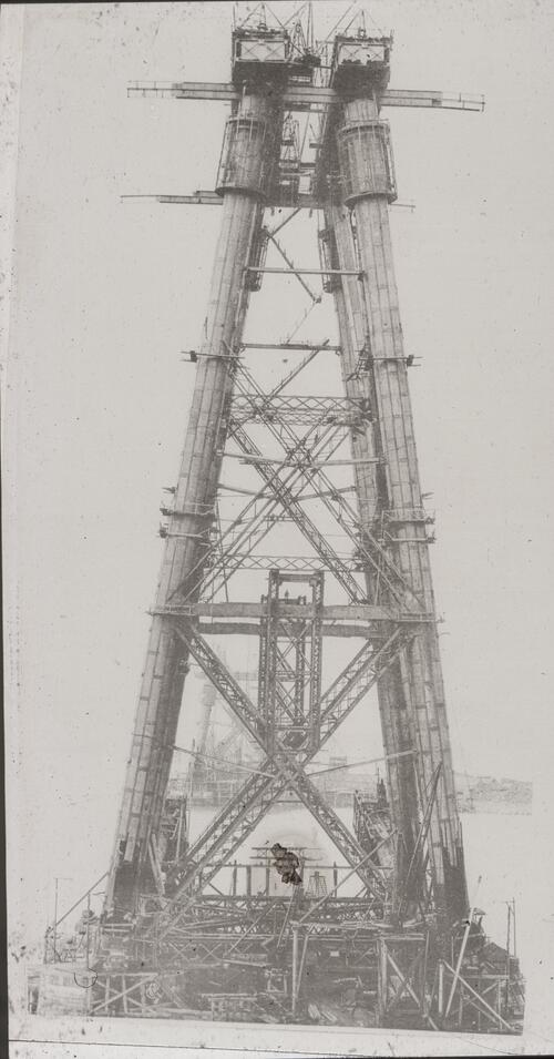 Queensferry Cantilever, vertical column at full height as seen from top of cantilever pier [Forth Bridge].