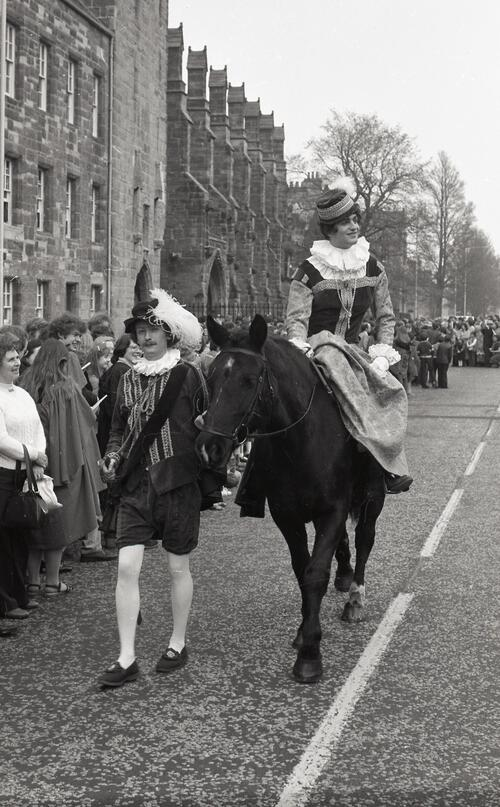 Mary, Queen of Scots, and page boy, the Kate Kennedy Procession, North Street, St Andrews.