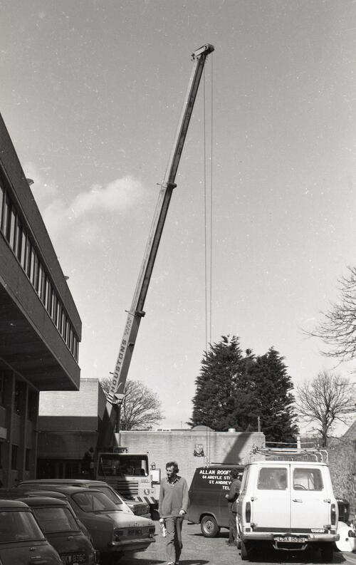 Crane at the Student Union building, St Andrews.