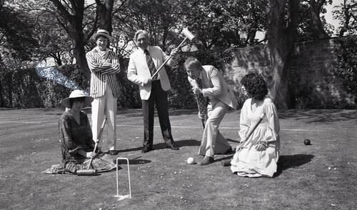 A University Croquet match, the students v the masters, on the lawn of the United College, St Andrews.