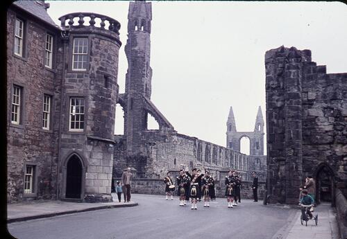 East end of South St., St. Andrews, with pipers