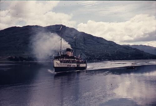 "Clyde steamer ""Waverley"" (paddle steamer), probably in Loch Goil"
