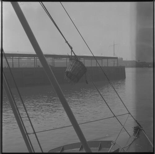 [A basket hung from a boat's cable, South Shields fishing docks]