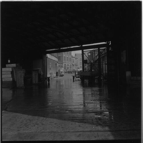 [A view of a dock's building into the street, South Shields fishing docks]