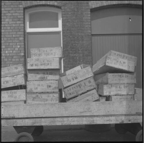 [A truck loaded with boxes outside a building, South Shields fishing docks]