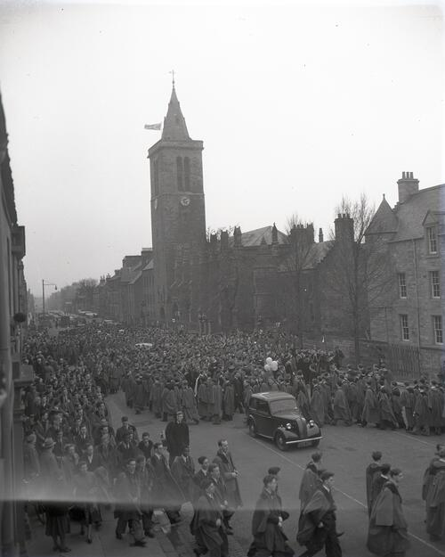 The students' serpentine procession on North Street, St Andrews, Rectorial Installation, 1953