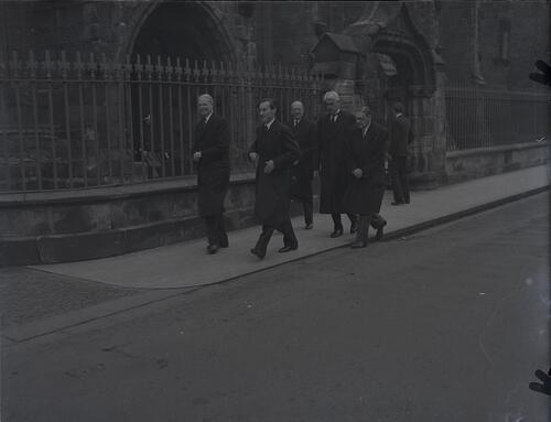 The honorary graduands leaving University Chapel during the Earl of Crawford's installation, North Street, St Andrews.