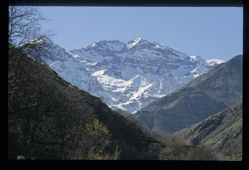 Jbel Toubkal, 4167m. The classic view of the highest Atlas summit as seen on the route from Asni up to Imlil.