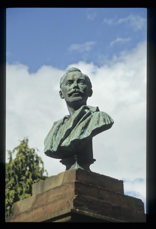The bust of Joseph Thomson on the Thornhill monument (Thomson is buried in the nearby Morton Cemetry).