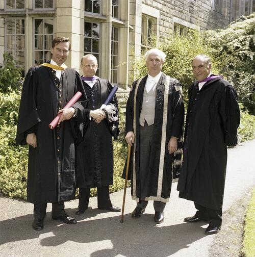 The honorary graduates and the Principal after the ceremony when Sir Kenneth Dover was installed as Chancellor of the University of St Andrews.