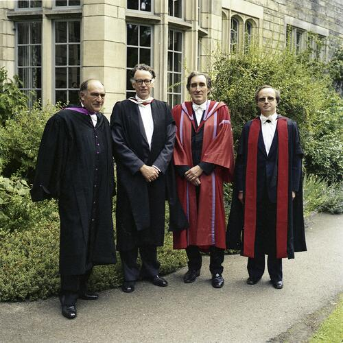 The honorary graduates after the ceremony when Sir Kenneth Dover was installed as Chancellor of the University of St Andrews.