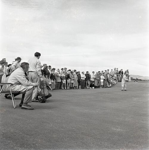 Henry Cotton watches Gene Sarazen play during the Henry Cotton v Gene Sarazen golf match, filmed for TV [The Old Course, St Andrews].