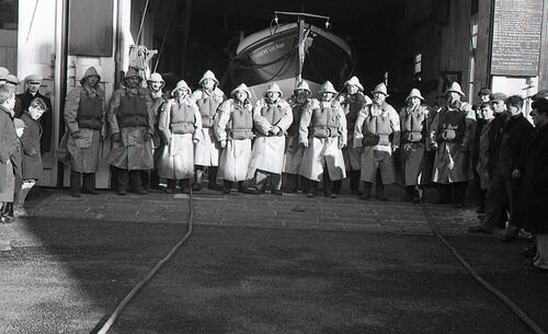 The Lifeboat crew members and boat, St Andrews.