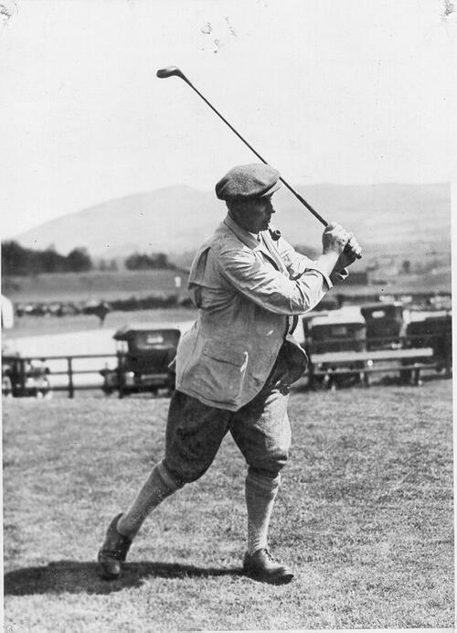 Harry Vardon driving at Gleneagles.