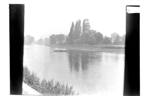 On the [River] Thames at Twickenham, Alex Gow in the boat.