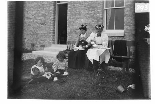 (from left) Ida, Fred, Bella and Jane [at Ivy Cottage, Sliddery, Arran].