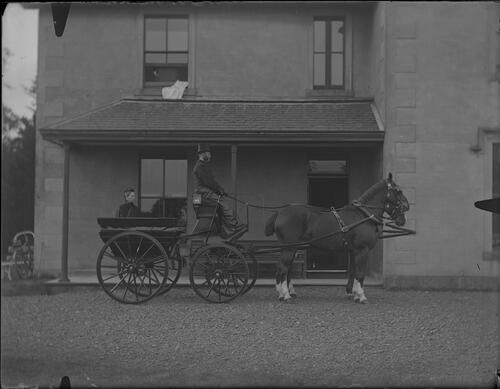 Horse carriage with woman in front of house.