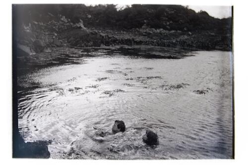 [Fred and Ida Miller swimming in the sea at] Plockton.