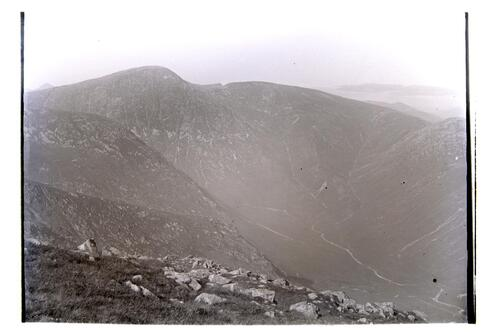 View from the top of Ben na Cille looking North. From left - Ben Fuar, Ben Creach 2800, Garven 2500, and Mecler 2300.