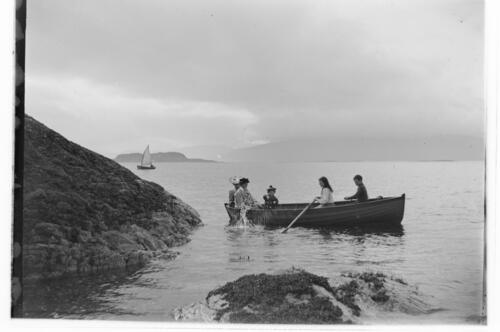 [The Miller family at sea, near Port Appin].