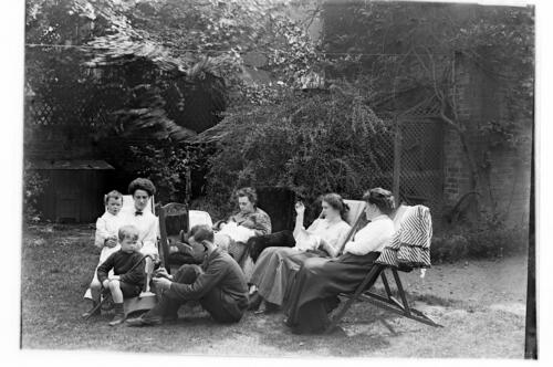Before. [The Millers in the garden at] Cleveland Cottage, Isleworth.
