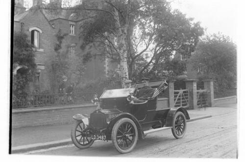 Mr Ashby in his motor outside Cleveland Cottage, Spring Grove, Isleworth